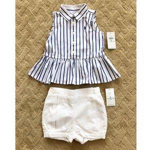 Ralph Lauren Baby Girl 2 Piece Peplum Top & Shorts